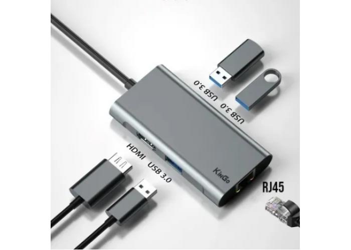 Adaptador Hub Macbook Pro, Air, Usb Tipo C USB 3.0 Hdmi 4k Kingo Ethernet Rj45
