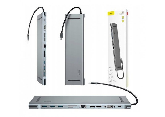Hub Usb-c Type-c Multifuncional Hdmi/ Rj45/ Vga/ P2 Baseus Mac