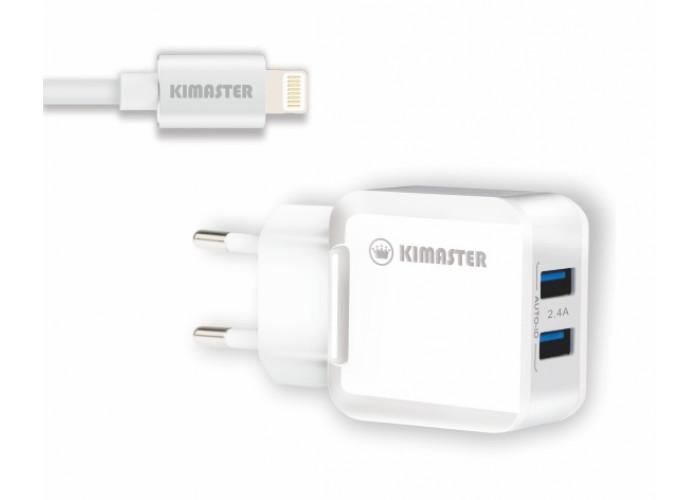 Carregador Kimaster com 2 USB + Cabo Lightning 2.4A - KT605X