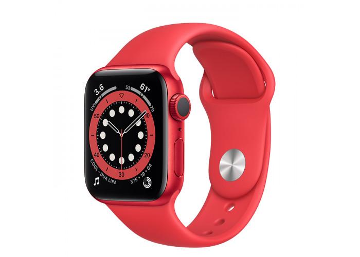 Watch Series 6 40mm Caixa Vermelha de Alumínio com Pulseira Vermelha Esportiva: Modelo GPS