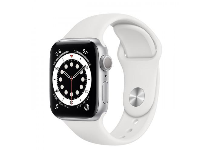 Watch Series 6 44mm Caixa Prateada de Alumínio com Pulseira Branca Esportiva: Modelo GPS