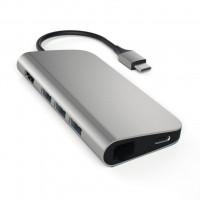 Adaptador Multi-port USB-C 4k Satechi C/ Ethernet Cinza